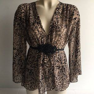 Nicole Miller Sheer Blouse with Black Beaded Trim